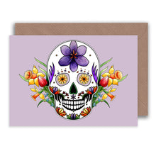 Load image into Gallery viewer, pastel goth purple skull and flowers greeting card for spring birthdays