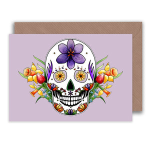 pastel goth purple skull and flowers greeting card for spring birthdays