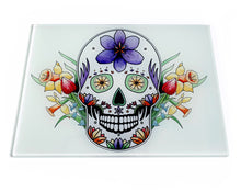 Load image into Gallery viewer, mexican skull with flowers chopping board gothic gift idea
