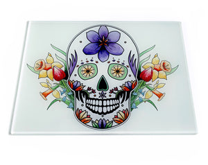 mexican skull with flowers chopping board gothic gift idea