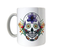 Load image into Gallery viewer, gothic spring sugar skull coffee mug