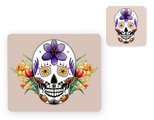 pastel goth skull placemat and matching coaster