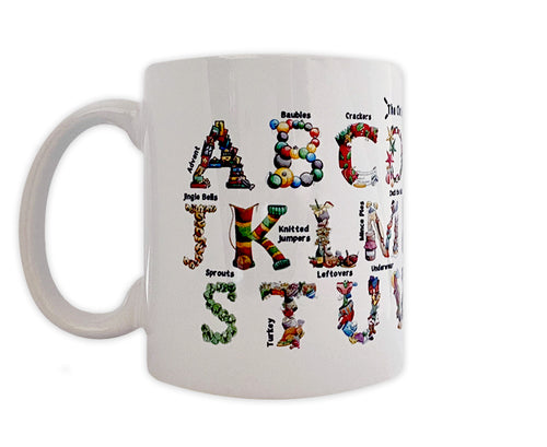 christmas alphabet ceramic mug