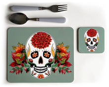 Load image into Gallery viewer, sage autumn sugar skull placemat