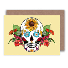 Load image into Gallery viewer, yellow sugar skull birthday card for her for summer birthdays