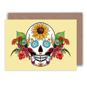 yellow sugar skull birthday card for her for summer birthdays