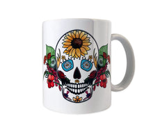 Load image into Gallery viewer, flowers and sugar skull goth mug gift idea