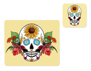 yellow summer skull placemat and matching coaster