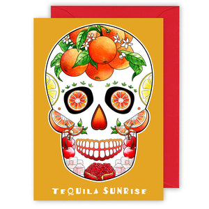 tequila sunrise cocktail sugar skull recipe greeting card