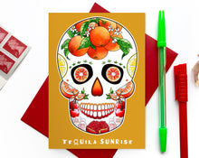 Load image into Gallery viewer, orange mexican skull cocktail lover birthday card for her