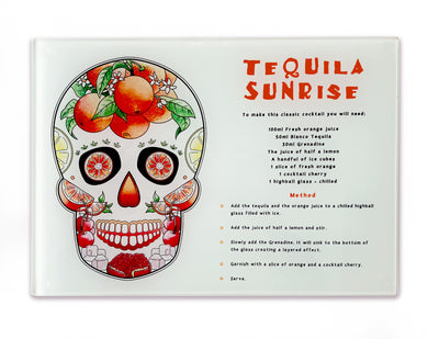 tequila sunrise sugar skull cocktail recipe cutting board