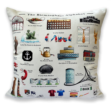 the birmingham alphabet cushion new home gift idea for someone living in birmingham in the uk