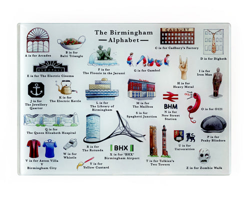 the birmingham alphabet glass cutting board brummie gift idea for her
