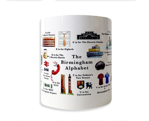 the birmingham alphabet mug featuring birmingham university