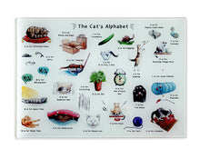 Load image into Gallery viewer, the cats alphabet glass cutting board. Cat gift for Cat lovers