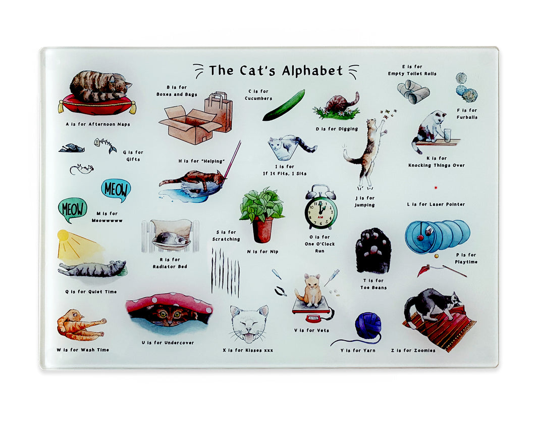 the cats alphabet glass cutting board. Cat gift for Cat lovers