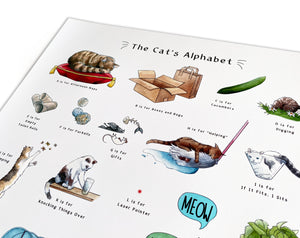 the cats alphabet art print gift idea