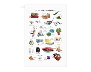 the cats alphabet tea towel, stocking filler gift idea for cat lover