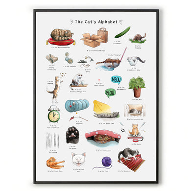 the cats alphabet cat wall art