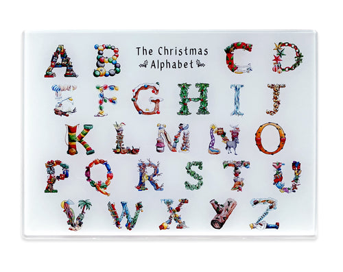 the christmas alphabet tempered glass cutting board