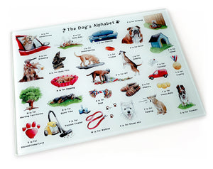 gift idea for her, the dogs alphabet chopping board