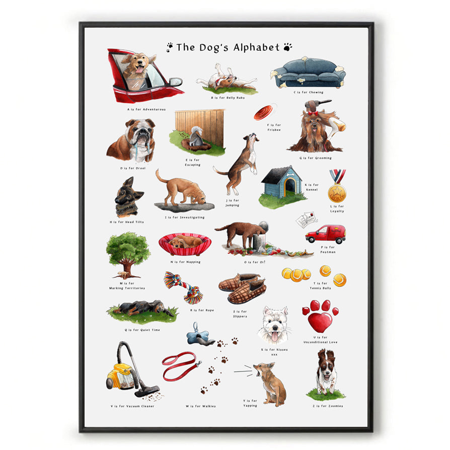 The Dog's Alphabet Art Print