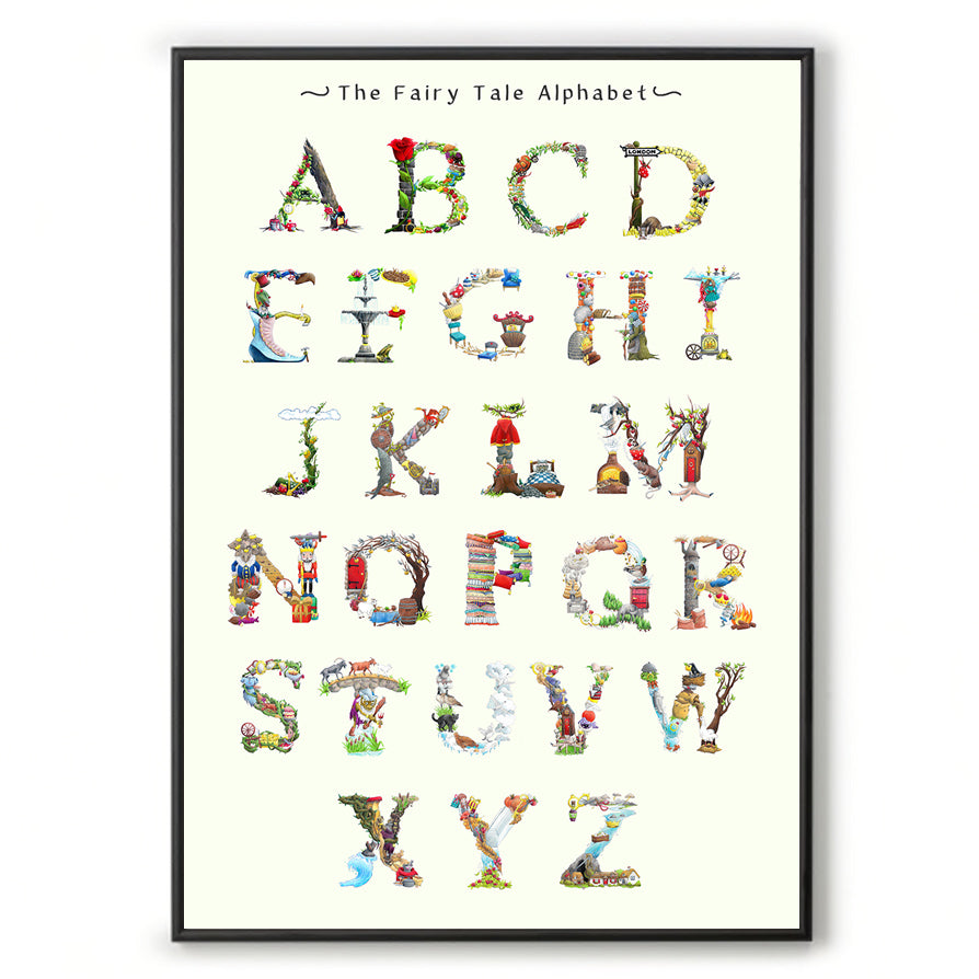 abc wall art fairy tale inspired alphabet print