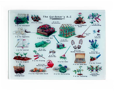 the gardeners alphabet cutting board gift idea for her