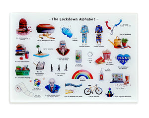the lockdown alphabet tempered glass cutting board 2020 gift idea for her