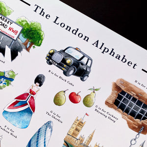 the london alphabet art print for london black cabbies