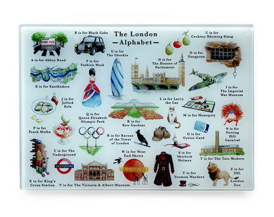 the london alphabet tempered glass cutting board london foodie gift idea