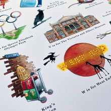 Load image into Gallery viewer, the london alphabet poster retirement gift for londoner