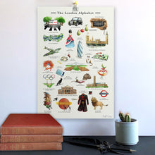 Load image into Gallery viewer, the london alphabet art print, home decor for london home. Gift idea for Londoner