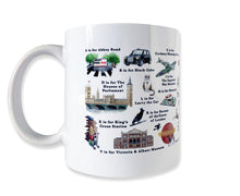 Load image into Gallery viewer, the london alphabet mug featuring larry the cat