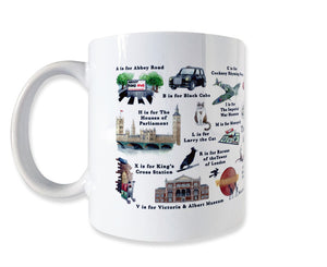 the london alphabet mug featuring larry the cat