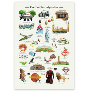 the london alphabet art print leaving gift for londoners