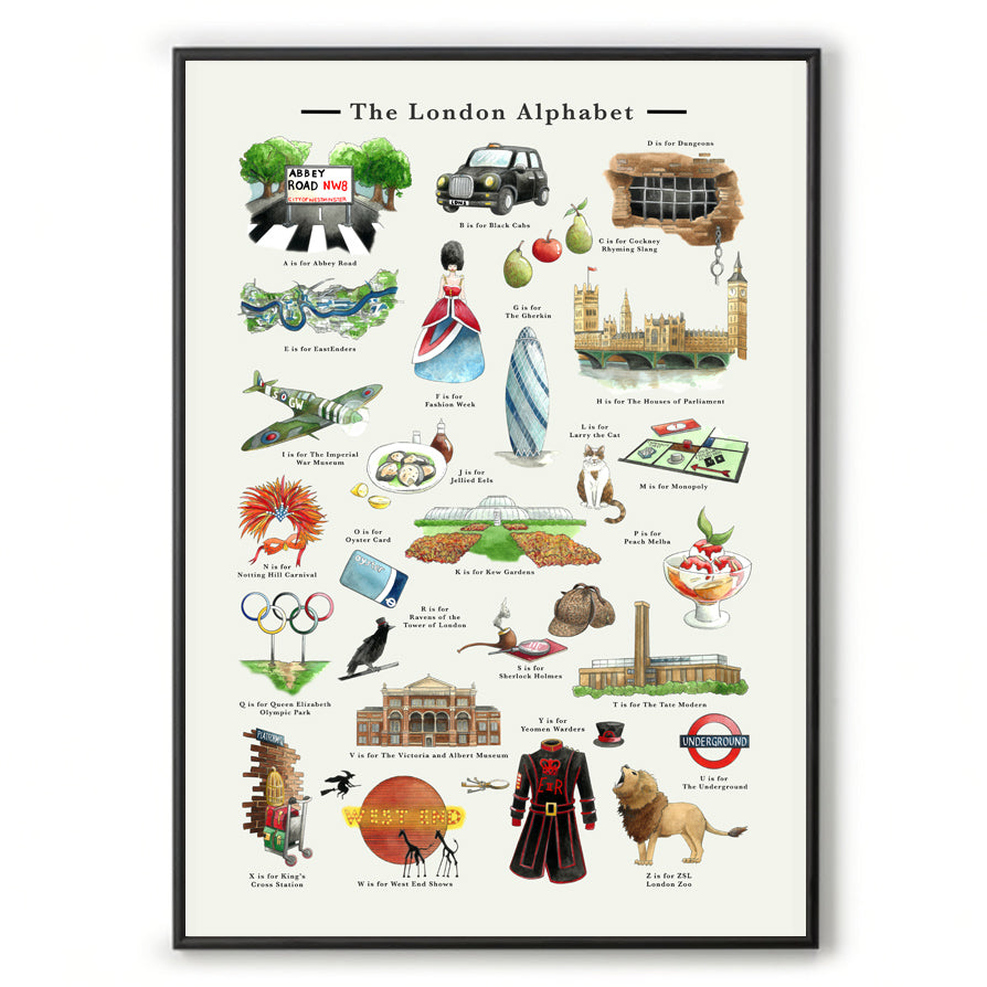 the london alphabet art print new home gift