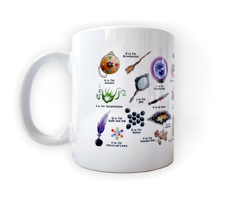 witchy gift idea for her magical alphabet coffee mug
