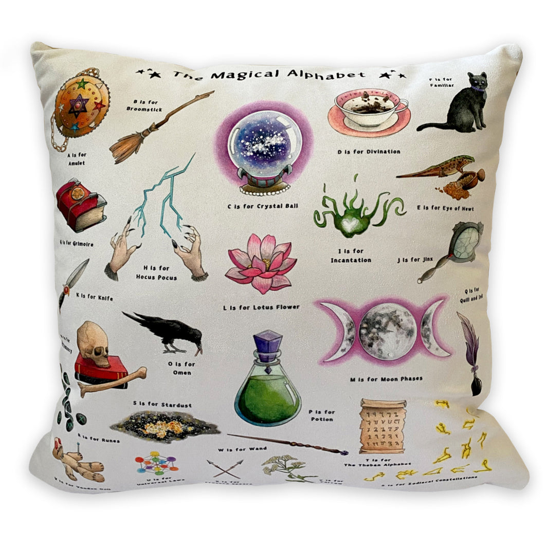the magical alphabet cushion witchy gift idea for her