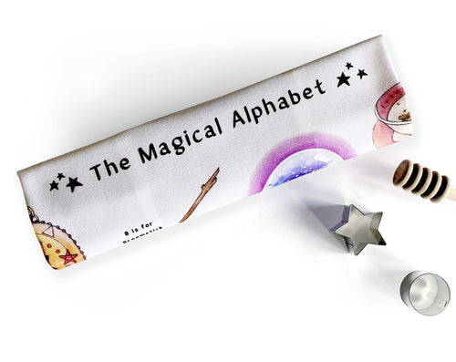 the magical alphabet tea towel witchcraft home decor