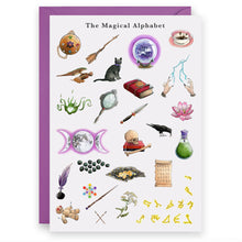 Load image into Gallery viewer, the magical alphabet witches birthday greeting card