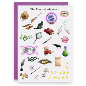 the magical alphabet witches birthday greeting card