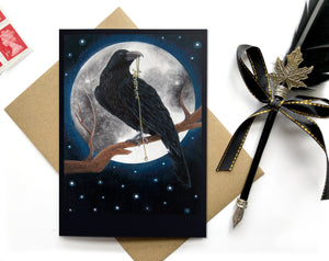 edgar allen poe the raven or crow birthday card
