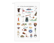 Load image into Gallery viewer, scottish alphabet tea towel host gift idea scotland