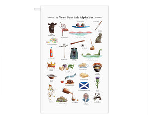 scottish alphabet tea towel host gift idea scotland