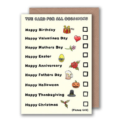 funny tick box card for birthdays valentines day, mothers day, fathers day and christmas