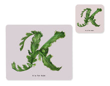 Load image into Gallery viewer, fruit and vegetable alphabet placemat and matching coaster letter k