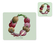 Load image into Gallery viewer, fruit and vegetable alphabet placemat and matching coaster letter o
