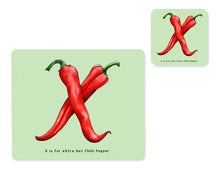 Load image into Gallery viewer, fruit and vegetable alphabet placemat and matching coaster letter x