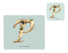 Load image into Gallery viewer, fruit and vegetable alphabet placemat and matching coaster letter p